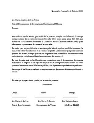 Ejemplo de carta responsiva de vehículo