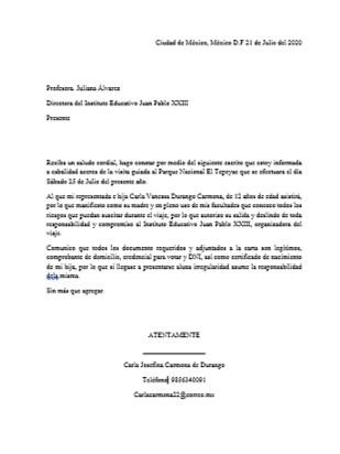 Ejemplo de carta responsiva escolar para imprimir