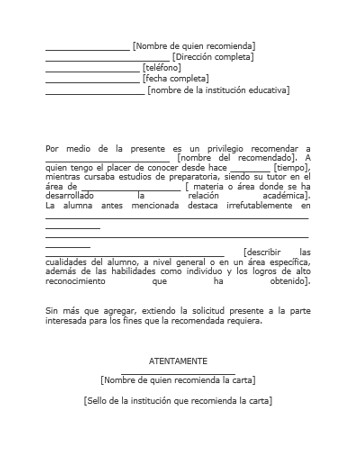 Formato de carta de recomendación personal