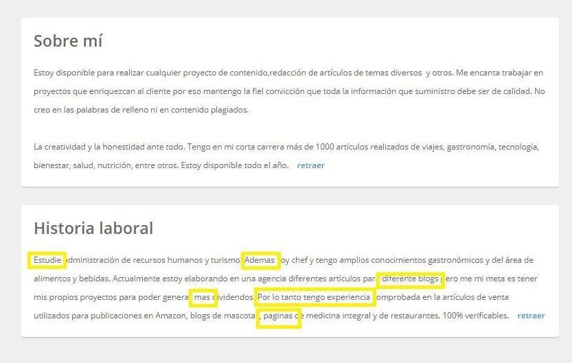 errores ortograficos en perfiles de redactores